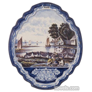Delft Plaque Wall Oval Enamel Figures Before Harbor Blue Green Puce 1800s