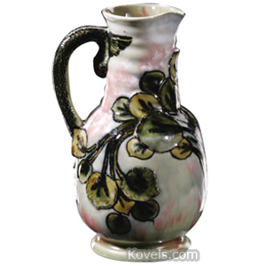 Doulton Pitcher Stylized Flowers Mottled Gray Pink Snake Handle