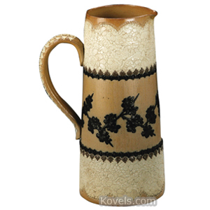 Doulton Pitcher Tan Salt Glaze Black Flowers Cylindrical Stoneware 1880