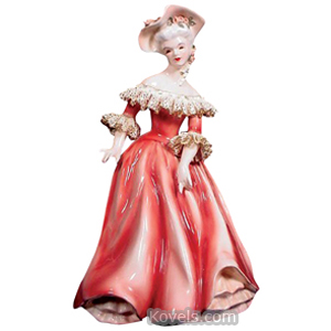 Florence Ceramics Figurine Musette Royal Red Dress White Trim Hat Flower Ringlets