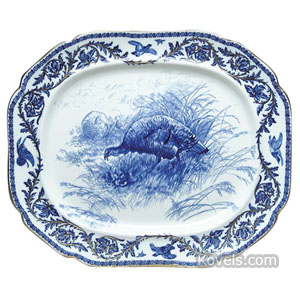 Flow Blue Platter Turkeys In Field Leaf Game Bird Border Gold Trim