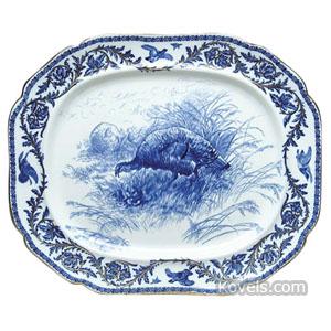 Flow Blue Platter Turkeys In Field Leaf Game Bird Border Gold Trim