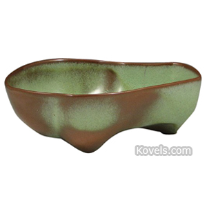 Frankoma Pottery Bowl Lazybones Prairie Green Free-Form Shape Footed
