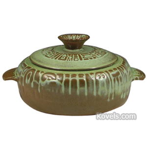 Frankoma Pottery Casserole Cover Mayan Aztec Prairie Green