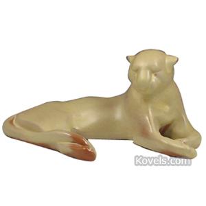 Frankoma Pottery Figurine Puma Reclining Desert Gold No 116