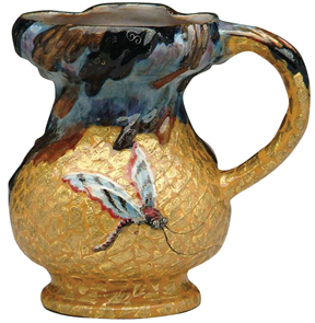 Galle Pottery Ewer Dragonfly Crackled Ground Embedded Gold Leaves Faience