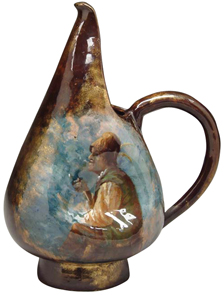 Galle Pottery Pitcher French Peasant Smoking Pipe Faience