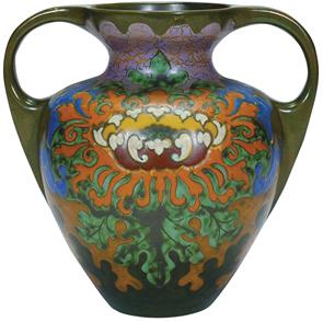 Gouda Vase Art Nouveau Flower Amphora Shape 2 Handles