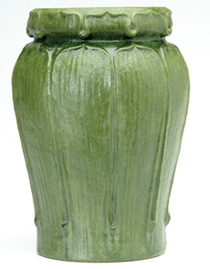Grueby Vase Gourd Shape Green Matte Glaze Tooled Applied Leaves Kendrick