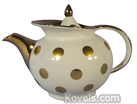 Antique hall china pottery porcelain price guide for Gold polka dot china