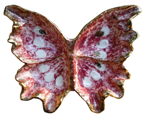 Hedi Schoop Tray Butterfly Multicolored Gold Rim Marked C1950