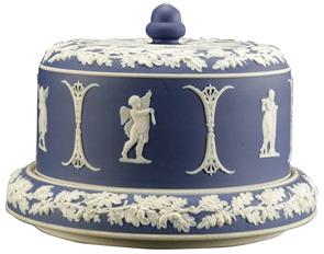 Jasperware Dish Cover Blue White Winged Angels Columns Oak Leaf Border C1900