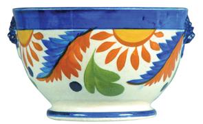 Leeds Waste Bowl Flowers Sunrays Blue Border Lion Mask Handles