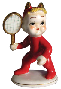 Lefton Figurine Little Devil Playing Tennis Red Outfit Gold Horns