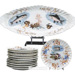 Limoges Fish Set ...  sc 1 st  Kovels.com & Antique Limoges | Pottery \u0026 Porcelain Price Guide | Antiques ...