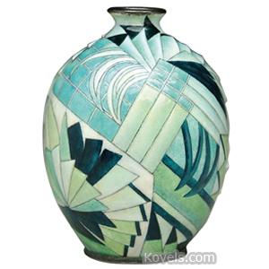 Limoges Vase Green White Art Deco Panels Silvered Rim Base C Faure