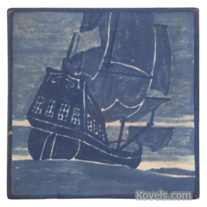 Marblehead Tile Ship Blue Matte Cream Early 20th Century