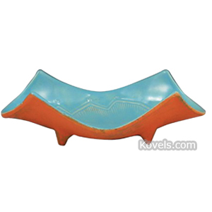 Mccoy Tray Art Deco Style Light Blue High Glaze Matte Orange Gold Bottom Footed