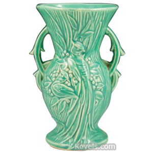 Mccoy Vase Bird Of Paradise Blue Green High Glaze Handles