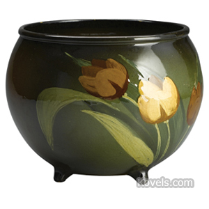 Mccoy Vase Tulips Green Ground Wide Mouth Rolled Rim Marked Loy-Nel-Art