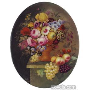 Minton Plaque Urn Flowers Fruit Stone Ledge Giltwood Frame Thomas Steel 1850