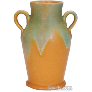 Muncie Vase Green Over Brown Matte Glaze Shouldered 2 Handles