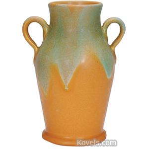 Muncie Vase Green Over Brown Matte Glaze Shouldered 2 Handles