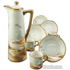 Nippon Demitasse Set Cranes Palm Trees Green Leaf Mark C1910