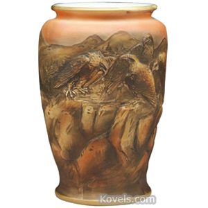 Nippon Vase Blown Out 4 Eagles On Rocks Mountain Landscape