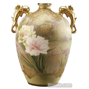 Nippon Vase Flowers Satin Jewels Gold Trim Maple Leaf Mark C1910