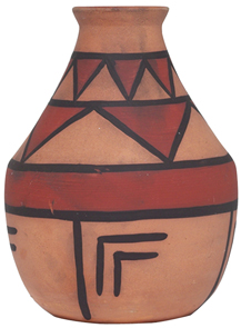 Owens Vase Aborigine Painted Geometric Design Signed Jbo