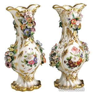 Paris Vase Garniture Flower Encrusted Flared Rims Gold Trim Jacob Petit