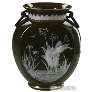 Pate-Sur-Pate Vase Brown Ivory Birds Nest Reeds Oval Flattened Flared Rim Ring Handles