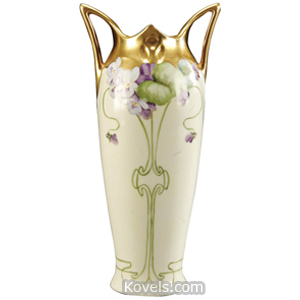 Pickard Vase Purple Flowers Trailing Stem Gold Rim Buttressed Handles