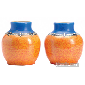 Pilkington Vase Cobalt Orange Art Deco Geometric Band Royal Lancastrian