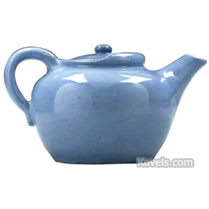 Pisgah Forest Teapot Purple Glaze Rolled Edge Flattened Finial C1945