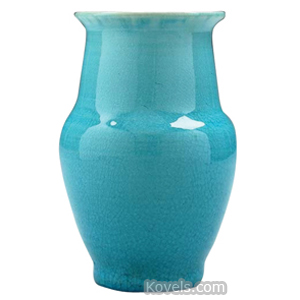 Pisgah Forest Vase Crackled Blue Glaze Bulbous Wide Tapered Neck Flared Rim