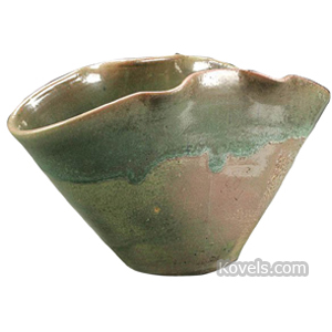 Pottery-Art Bowl Free-Form Green Matte Shaded To Crimson North State Pottery