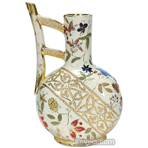 Pottery-Art Pitcher Flowers Gold Trim Branch Handle Cincinnati Art Pottery Sara W 1888