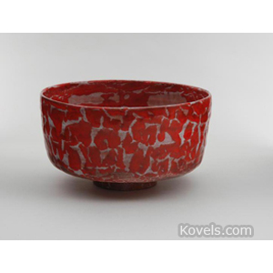 Pottery-Midcentury Bowl Red Glaze Signed Beato Beatrice Wood C1955