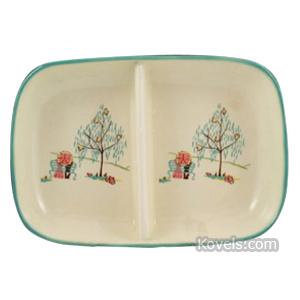 Pottery-Midcentury Dish Divided Figures Parasol Tree Brock California