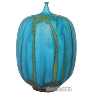 Pottery-Midcentury Vase Gourd Shape Brown Clay Turquoise Tan Drip Glaze Cabat