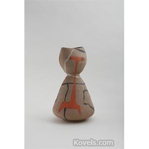 Pottery-Midcentury Vase Stylized Person Signed Lagardo Tackett C1955
