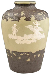 Radford Vase White Relief Cherubs Eagles Clouds Light Olive Ground Shouldered
