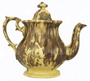 Rockingham Coffeepot Yellowware Shaped Handle Footed