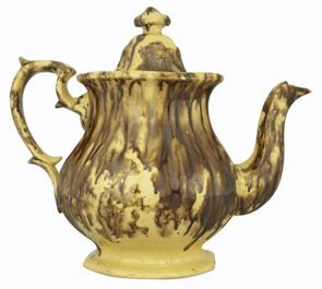 Rockingham Coffeepot Yellowware Shaped Handle Footed
