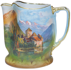 Royal Bayreuth Pitcher Landscape Castle On Lake Snowtopped Mountains Gold Trim