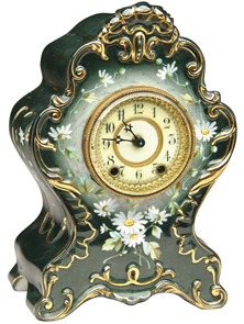 Royal Bonn Clock Mantel La Vendee Flowers Shaped Green Case Ansonia Works C1900