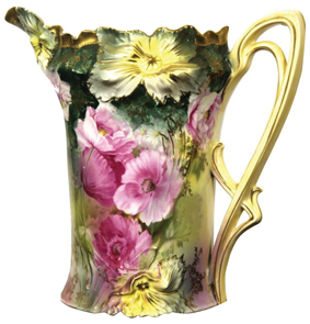 Rs Prussia Pitcher Cider Pink Poppy Green Gold Highlights Carnation Mold