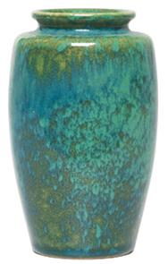 Ruskin Vase Blue Green Glaze Shouldered Flared Rim
